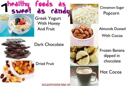 Healthy foods as sweet as candy- I would add dried plums (formerly called prunes) High in fiber, low in calories, they curb a sweet urge.