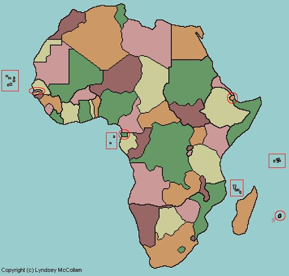 clickable map quiz of African countries