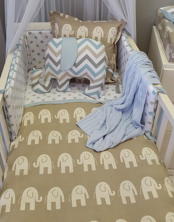 A great combination of #DuckEgg and #Taupe, to create #ElephantTheme bedding, perfect for any #BabyBoy!  #BabyBedding #BabyLinen