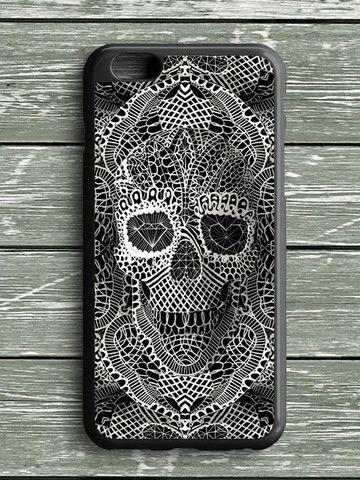 Black White Lace Skull iPhone 6S Plus Case