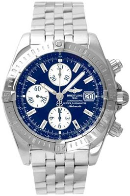 Breitling Mens Stainless Steel Chronograph Watch Chronomat Evotion Blue Dial Automatic
