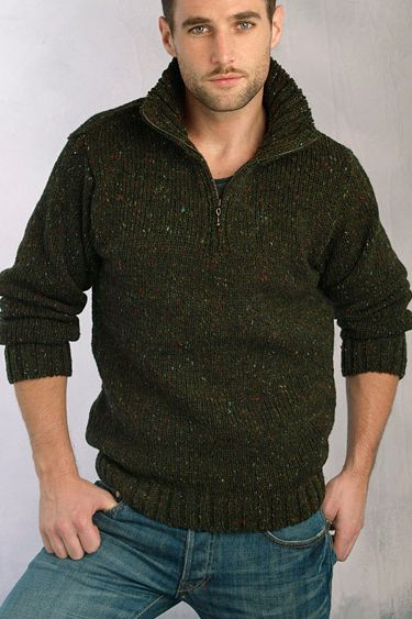 Aran Crafts Mens Donegal Wool Knit Zip Neck Sweater Pullover knitting and c...