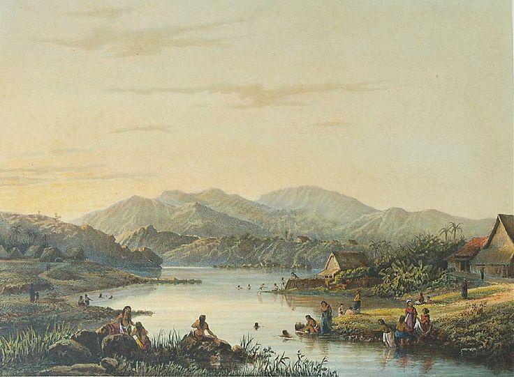 De badplaats Wendit. Litho naar een oorspronkelijk schilderij van A. Salm. 1865-1872, Papier, 26,6 x 36,2 cm