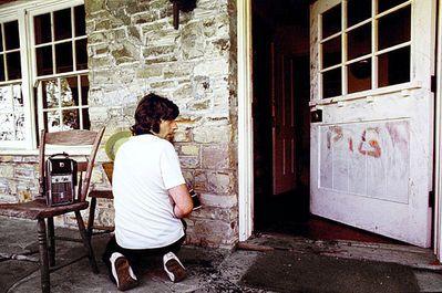 Roman Polanski visiting the crime scene of his murdered girlfriend, Sharon Tate