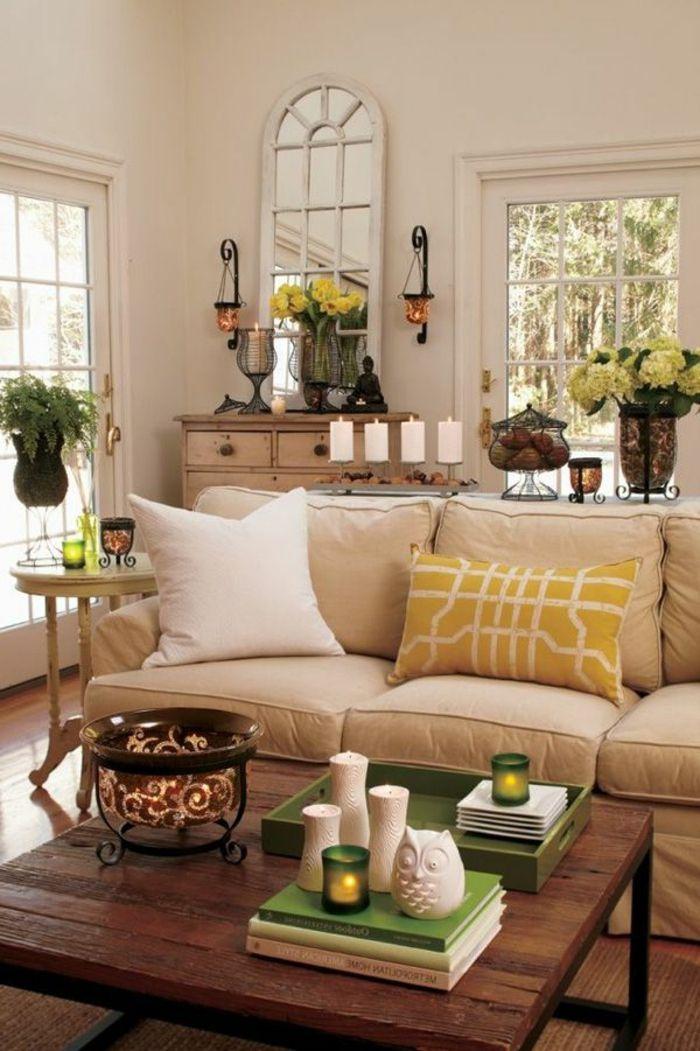 Wohnzimmer Streichen Ideen Beige Wnde Kerzen Blumen