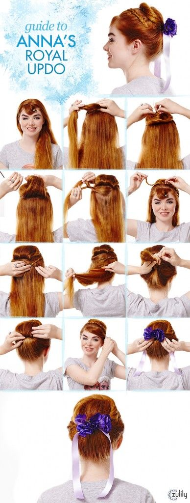 Anna Hair Tutorial. Guide to Anna's Royal Updo. Disney Frozen Hair Tutorials – Elsa and Anna Hacks. Step by Step Tutorials for Side Braids, Coronation Buns, and Royal Updos on Frugal Coupon Living.