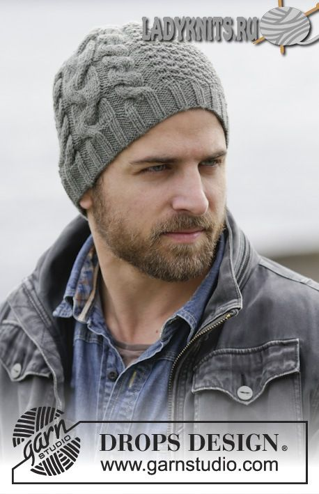 вязаная спицами мужская шапка