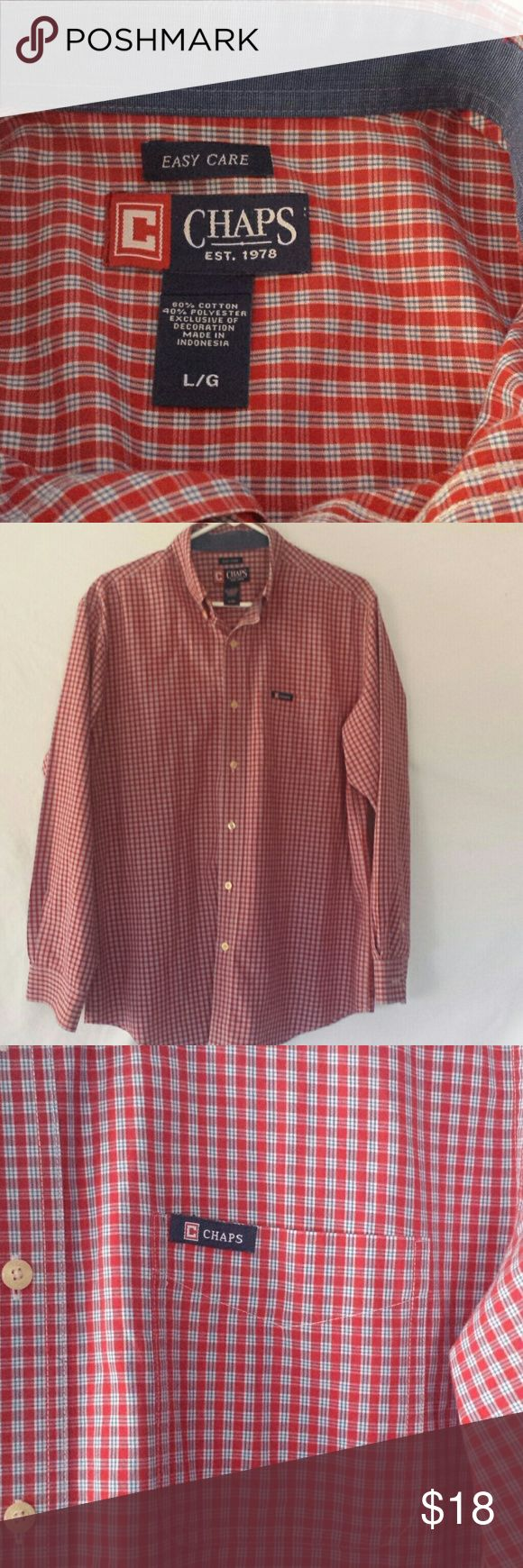 """EASY CARE CHAPS SHIRT Red white and blue Chaps Shirt. Approx. 24"""" sleeve. Excellent shape!! Chaps Shirts Casual Button Down Shirts"""