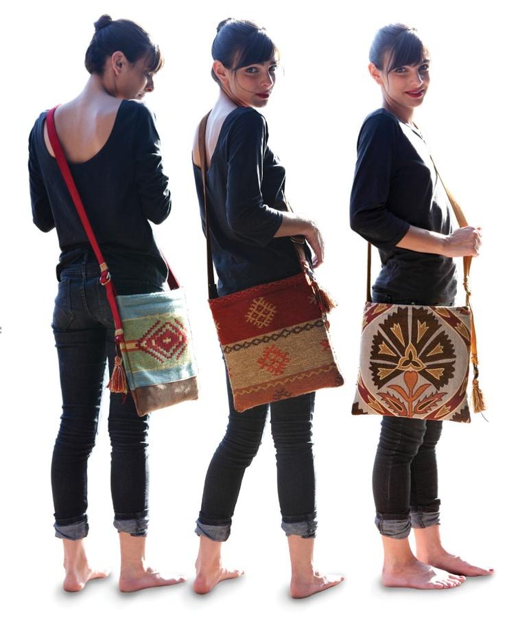 Mapuche, Toba and Totem Haversacks modeled by Nina.