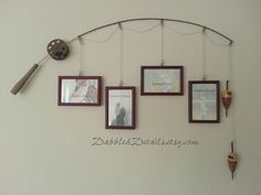 Fishing pole picture hanger - cute idea  #DIY