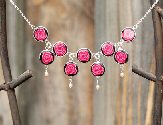 rose statement necklace polymer clay necklace by zhabkadesigns