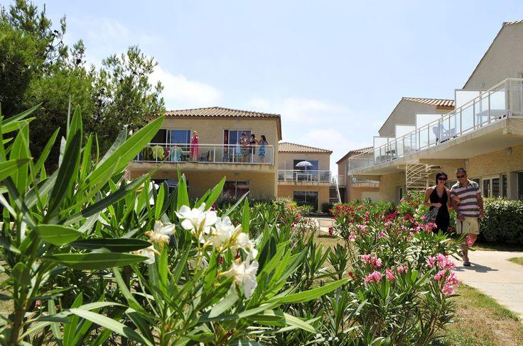 Les jardins et les petits bâtiments de la résidence Goelia à Gruissan - Languedoc Roussillon