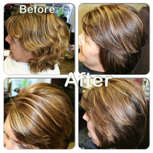 """Fall color makeover using the Kenra """"Latesia"""" Block Diffusion technique. Foundation- 4BC/6N+20, Anchor-6BC/6N+20, Sliced accent-8B+40vol, Weaved accent-10vol+Kenra Lightener."""