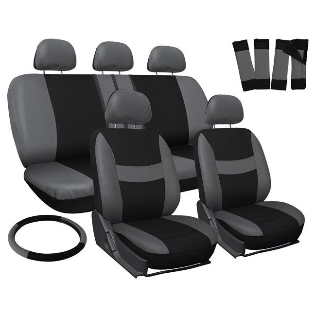Oxgord Grey 17 Piece Full Car Seat Cover Automotive Set
