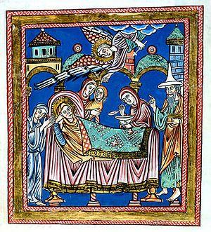 Nativité de Marie, mère du Christ- Allemagne, xiie siècle: Saint Joachim porte le chapeau juif