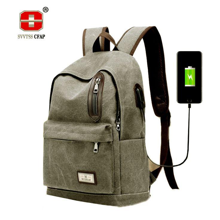 Mens Schoolbag vintage Laptop Backpacks Male Teenagers School Bags for Boys Daypack College Book Bag USB Canvas Back pack black #Affiliate