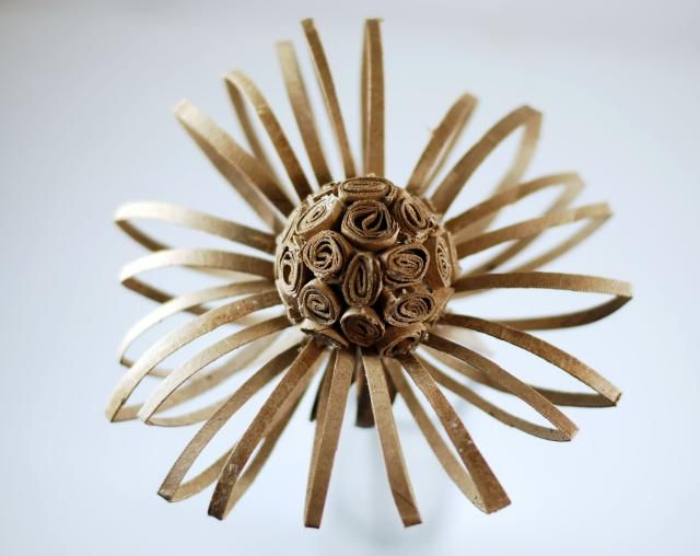 Beautiful Paper Flowers Made From Recycled  Paper Cardboard Tubes: How To Make a Paper Flower From a Recycled Cardboard Tube: Step 4