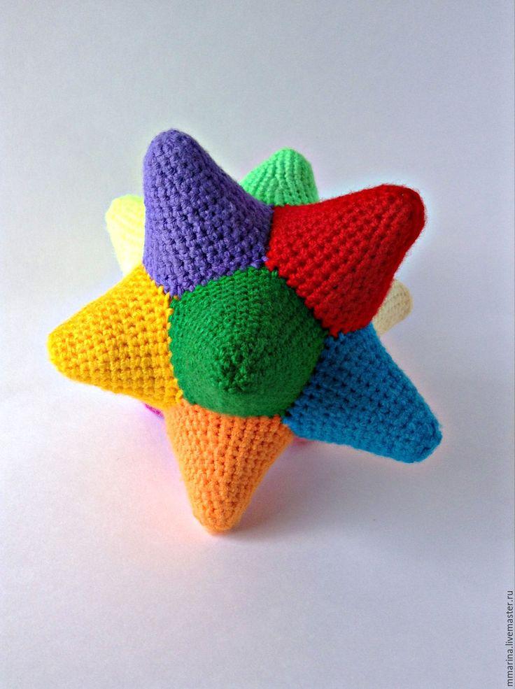 Купить погремушка звезда - комбинированный, погремушка, погремушка вязаная, погремушка ручной работы, Вязание крючком