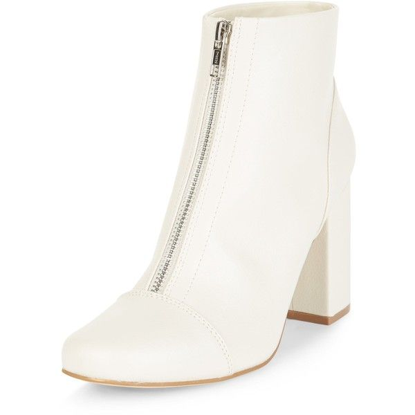 New Look Cream Zip Front Block Heel Ankle Boots ($39) ❤ liked on Polyvore featuring shoes, boots, ankle booties, winter white, ivory ankle boots, short boots, bootie boots, cream boots and white winter boots