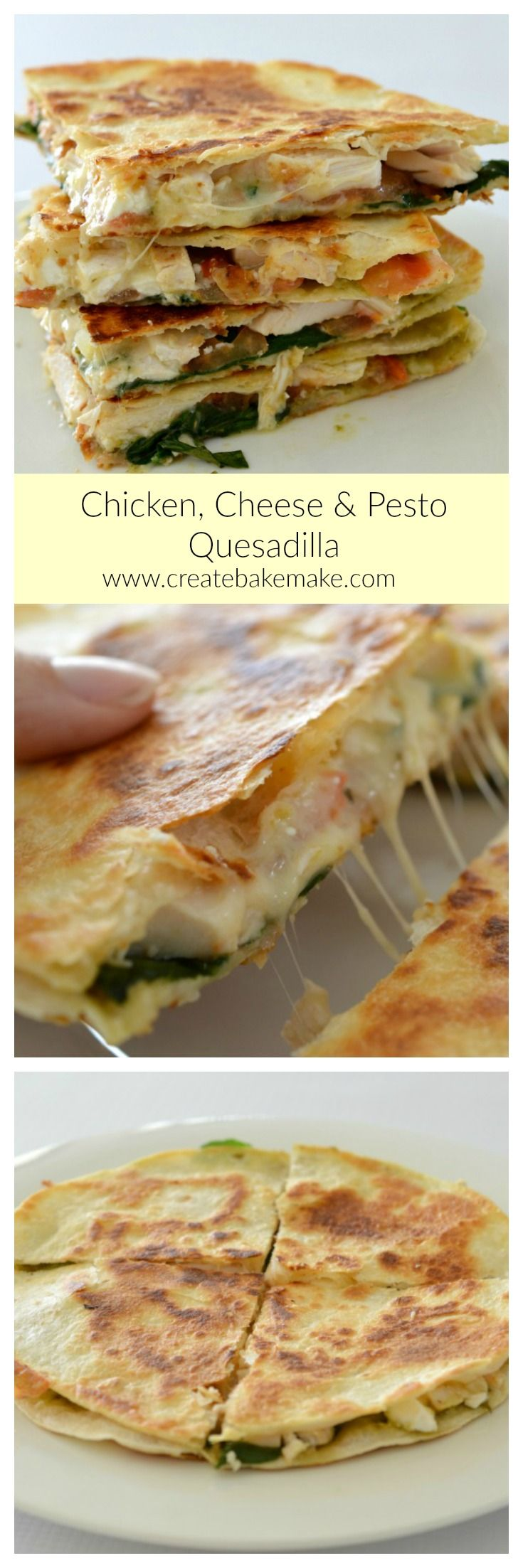 This Cheesy Chicken Cheese and Pesto Quesadilla is both easy and delicious, making it the perfect simple lunch or dinner!