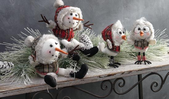 RAZ Aspen Sweater Collection of Christmas Decorations, Knitted Ornaments, Elves, Natural Decorations, Whimsical Snowman, Squirrels, Owls, Skis, Knitted Scarves, Hats, Vest, Rustic Santa