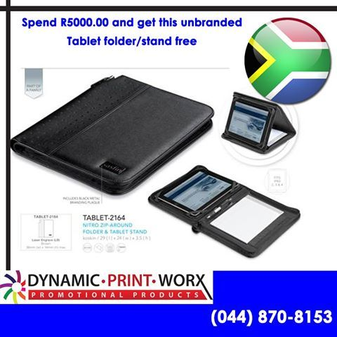 The most important brand today is South Africa, however Dynamic Print Worx would like to offer you the opportunity to make your mark in business and get a free Tablet folder/stand with every order of more than R5000.00 placed and paid for before the 31st May 2014. While stocks last, T&C's Apply. #electionpromo #brandeditems #buildyourbrand