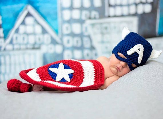 Crochet Captain America Inspired Costume/Photography Prop/Captain America Beanie/ Captain America Sheild/ Made to Order