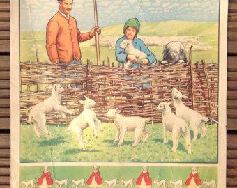 L'école Vintage Poster  Peggy et John visite les bûcherons