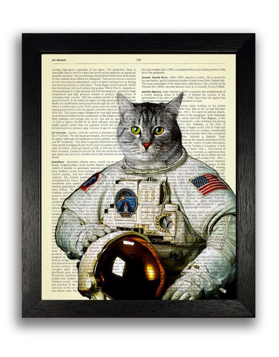 Cat in Space Suit Wall Art, Space Cat Poster, Kitten Art Print, Cat Wall Decor, Kids Bedroom Artwork, Kitty Wall Decal, Cat Poster