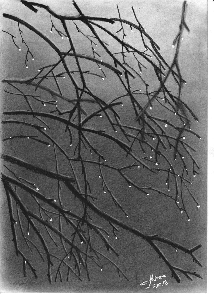 """Night dew"" drawing charcoal 20x30 by Mircea Craciunel."