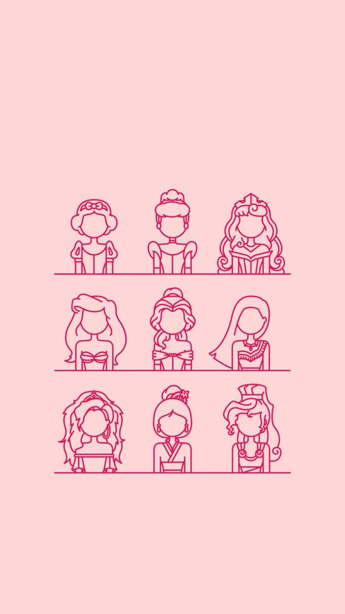 Disney Princess Minimal iPhone Wallpaper
