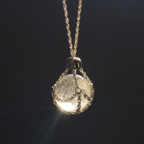 Chain-cloaked Quartz Crystal Ball necklace www.FawneyFortune.etsy.com