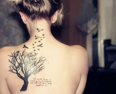 """There are two gifts we give our children. One is roots, the other is wings."" Family Tree Tattoo, This would be an awesome sister tattoo!! Except change it to ""There are two gifts we recieve from our family,"" or ""get for our parents"" or something like tha  
