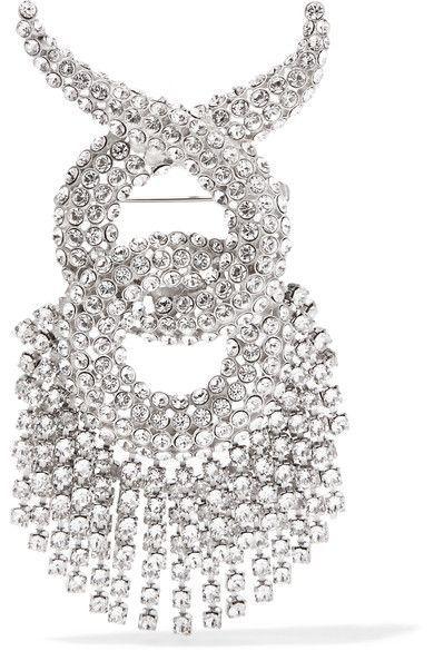 Balenciaga - Palladium-tone Swarovski Crystal Brooch - Silver - one size