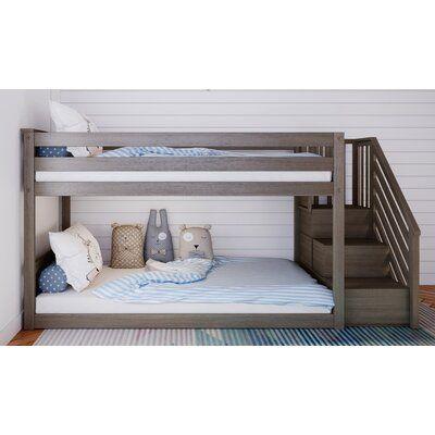 Harriet Bee Kean Twin Over Twin Bunk Bed Wayfair Tempat Tidur Tingkat Kayu Solid Kayu Cheap twin over twin bunk beds