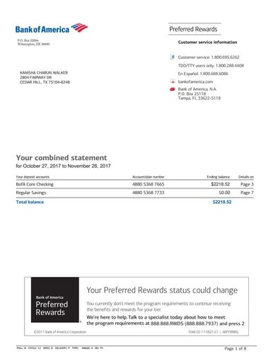 Bank Statement, Bank America in 2019 | important | Bank ...