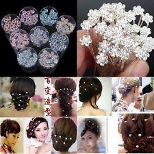 20PCS Wedding Bridal Crystal Rhinestone Pearl Flower Hair Pin Clip Accessories