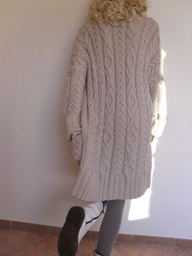 Women's Cable Knit Sweater Knitted Merino Wool Cardigan by Pilland