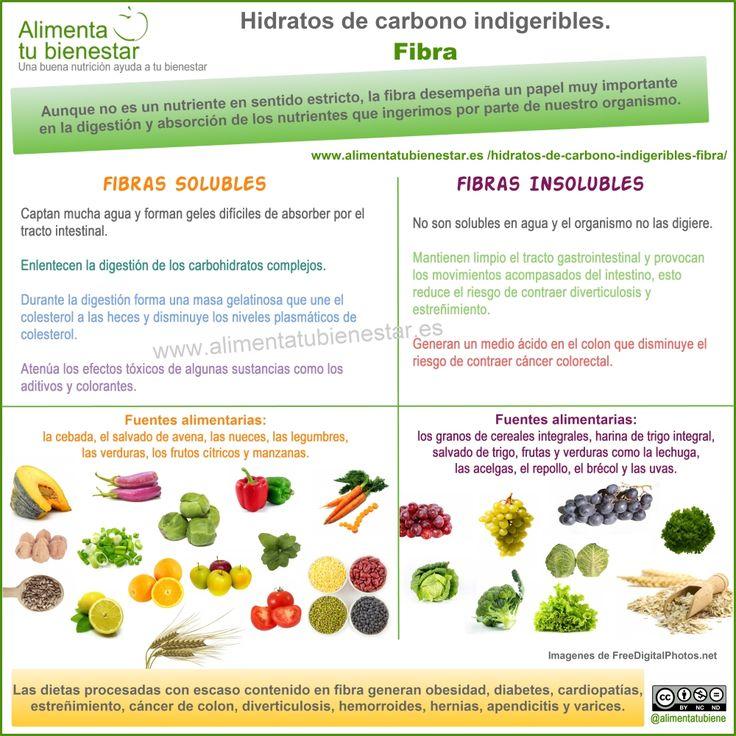 Hidratos de carbono indigeribles: Fibra #Infografia  Sus propiedades y fuentes alimentarias