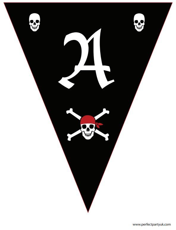 """Printable Pirate bunting in black and red. Reads """"Ahoy There!"""" - great for any occasion! Get the full set of letters at http://www.perfectpartyuk.com/theme-guides/pirates/free-printables/ to print out at home (it's free!)"""