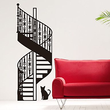 Architecture Spiral Stairs and Cat Wall Stickers – AUD $ 59.02