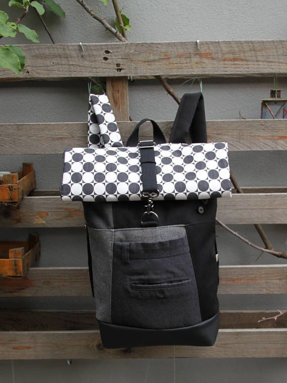 Gray & black upcycled roll top rucksack using part from a gray men's trousers, by 'eating the goober'