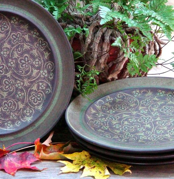 Franciscan Madeira Dinner Plates Set Four Retro Ironstone Brown and Sage Green Earthtone Colors... These were my everyday dishes when I got married.. Wish I still had them