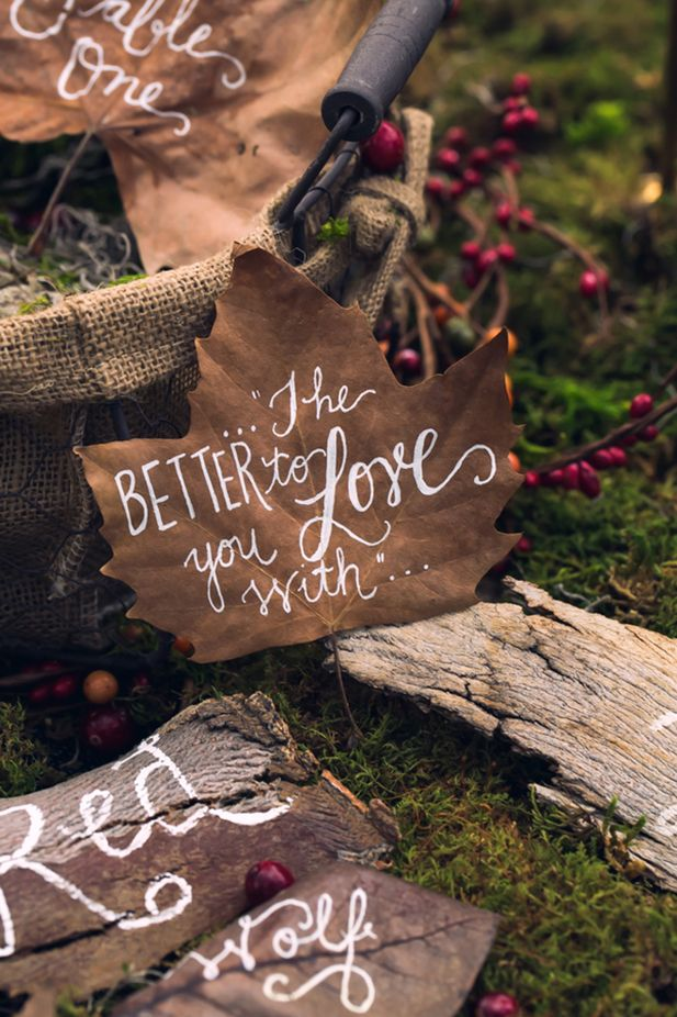37 best wedding with pets images on pinterest wedding dogs red riding hood noir wedding inspiration shoot dark woodsy table decor with hand lettered details photo nerinna studios junglespirit Images
