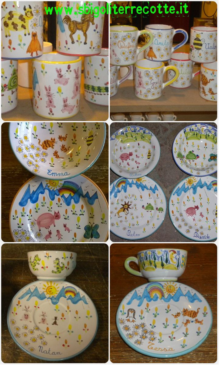 Naif plates and cups for children - www.sbigoliterrecotte.it