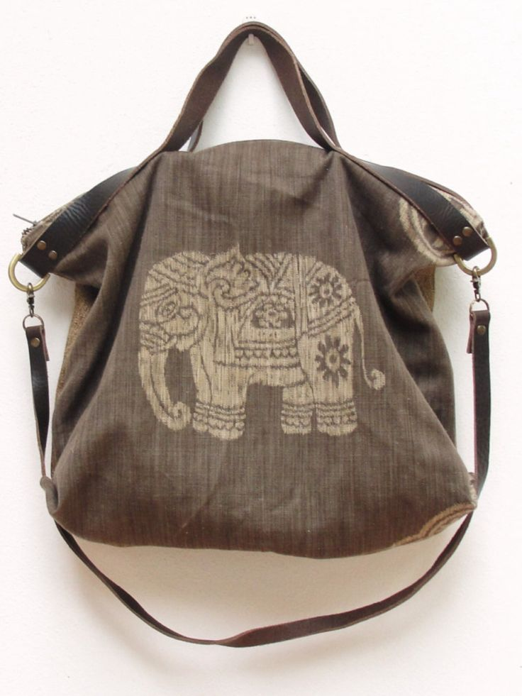 Ikat Leather Bag - Boho Elephant Safari - upcycled eco friendly