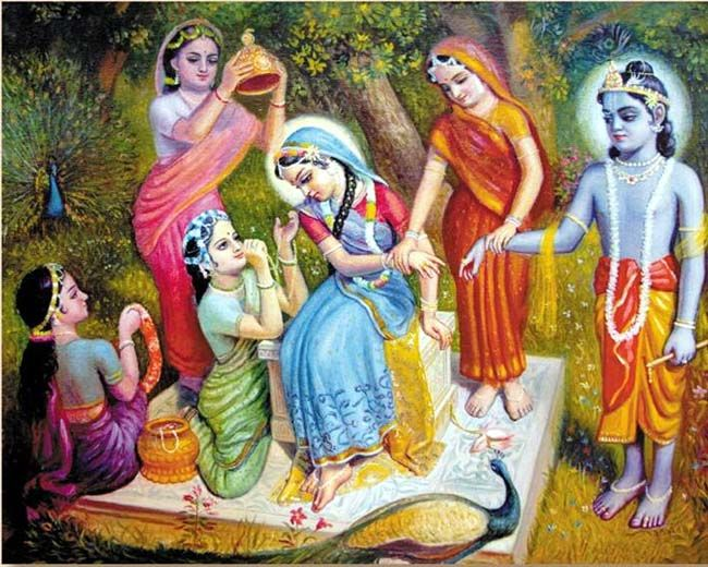 "Transcendental pastime of Sri Radha and Krishna ""making up"" with the help of Their gopi friends. In the spiritual world all emotions are there, in their pure state."