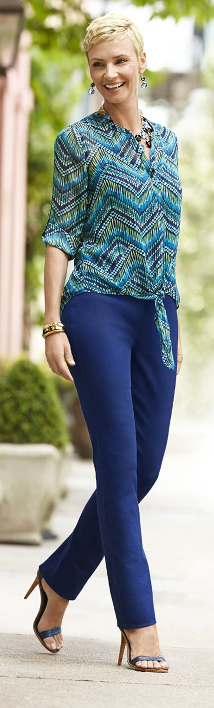 Chico's Stripe Textures Emma Top and So Slimming Madison Pant.