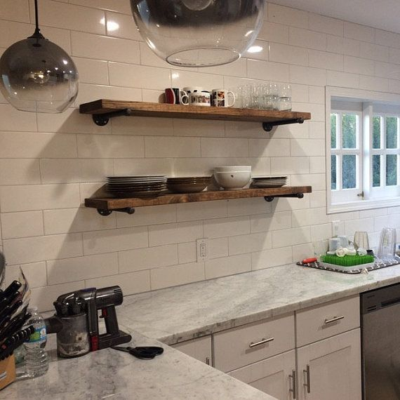 "Industrial Kitchen Storage: Extra Long 10"" Deep Rustic Industrial Floating Shelves"