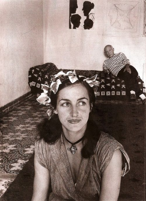 francoise gilot. Many of her paintings can be seen at http://www.vincentmanngallery.com/francoisgilot.asp